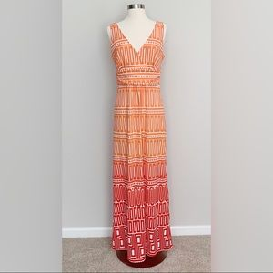 Jude Connally Red Orange Geometric Maxi Dress